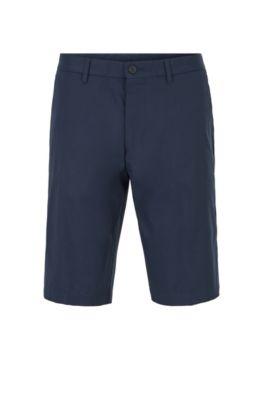Regular-Fit Shorts aus feuchtigkeitsableitendem Twill, Dunkelblau