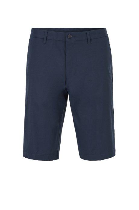 Shorts regular fit en sarga elástica transpirable, Azul oscuro