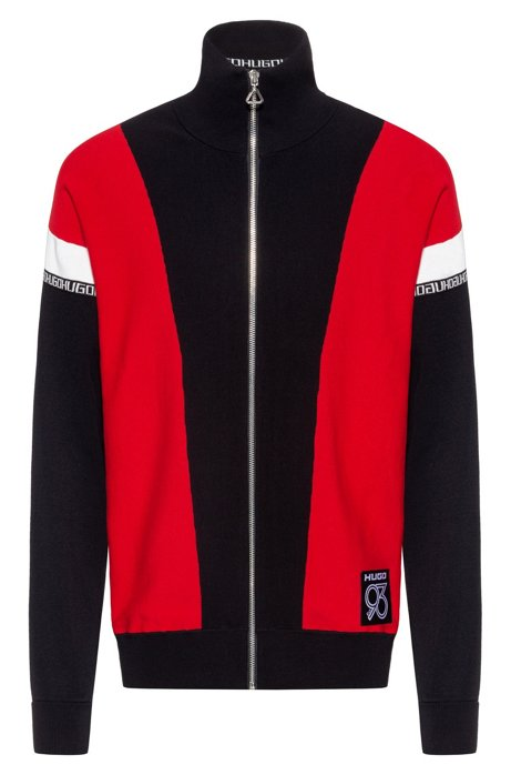 Oversize-fit cardigan in cotton with colour-blocking, Red