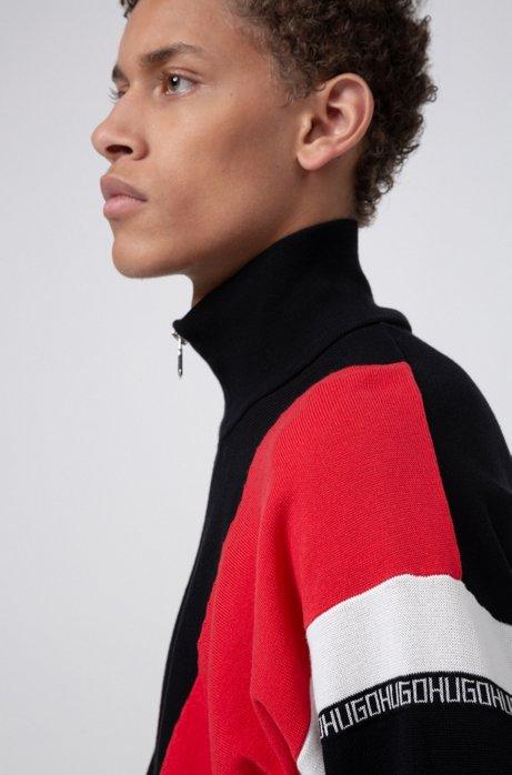 Oversized Trainingsjacke aus Baumwolle mit Colour-Block-Design, Rot