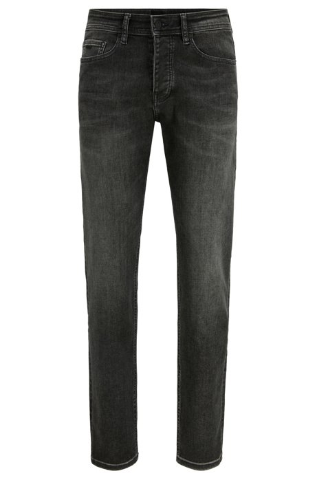 Tapered-fit jeans in grey super-stretch denim, Anthracite