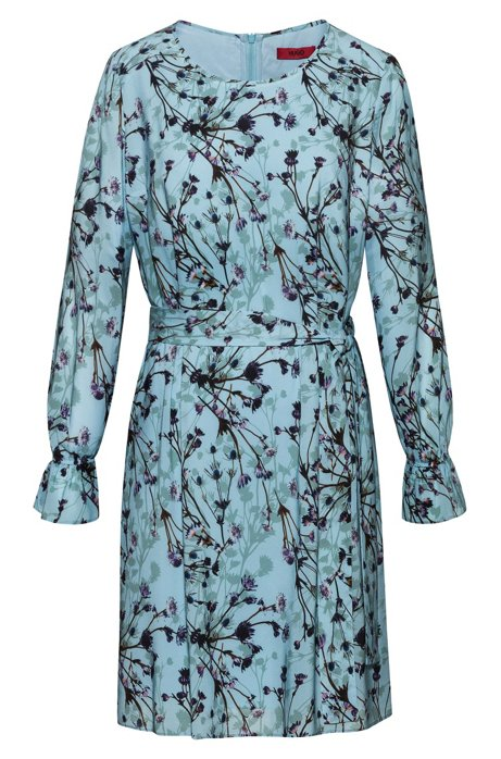Belted tunic dress with thistle print, Patterned