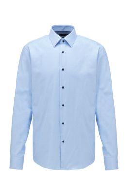 Regular-Fit Hemd aus Baumwolle mit zweifarbiger Webstruktur, Hellblau