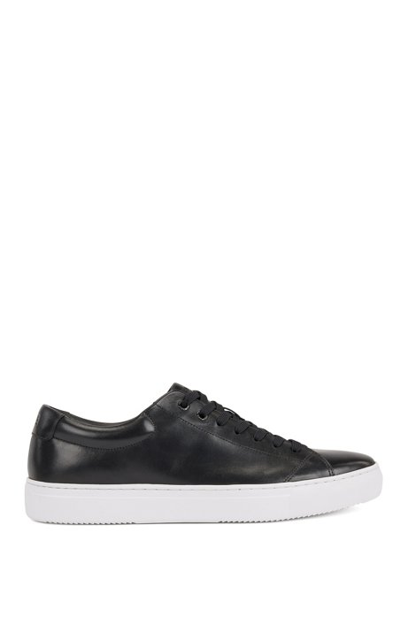 Tennis-style trainers in nappa leather with EVA sole, Black