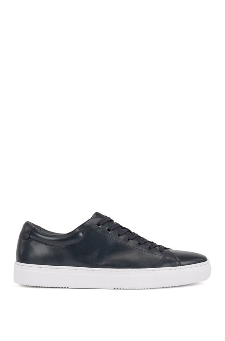 Tennis-style trainers in nappa leather with EVA sole, Dark Blue
