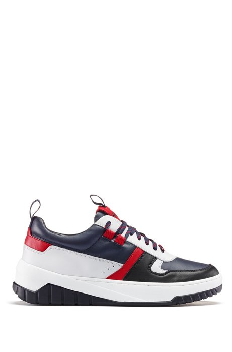 Low-top trainers in colour-block nappa leather, Dark Blue