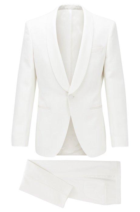 Slim-fit smoking van scheerwol met zijden accenten, Wit