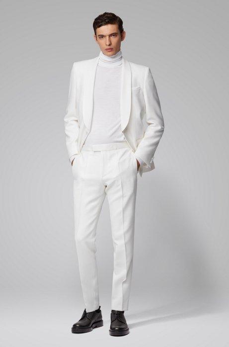 Smoking Slim Fit en laine vierge, avec finitions en soie, Blanc