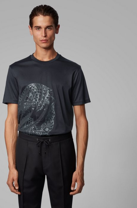 T-shirt van zuivere katoen met rubberprint, Zwart