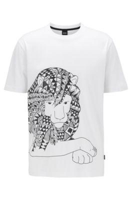 Camiseta de algodón puro con estampado de goma, Blanco