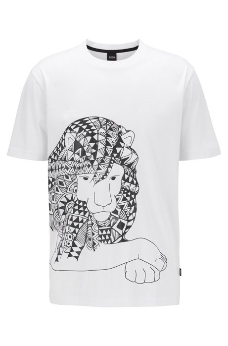 Pure-cotton T-shirt with rubberised print, White