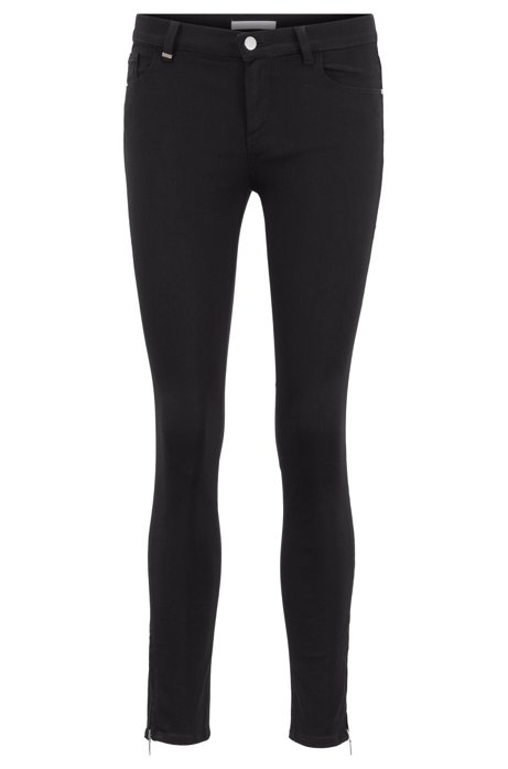 Skinny-fit black jeans with zipped hems, Black