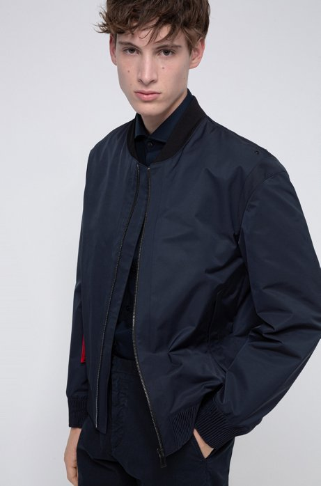 Water-repellent bomber jacket with detachable key ring, Dark Blue