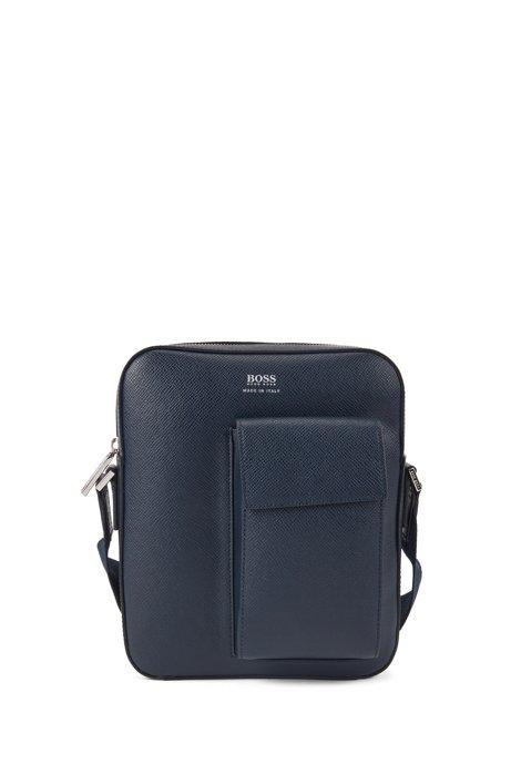 Borsa della Signature Collection in pelle italiana con tasca per telefono, Blu scuro