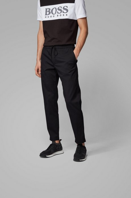 Tapered-fit trousers in lightweight poplin with drawstring waist, Black