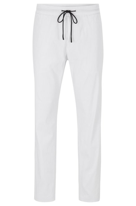 Tapered-fit trousers in lightweight poplin with drawstring waist, White