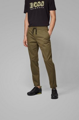 Tapered-fit trousers in lightweight poplin with drawstring waist, Dark Green