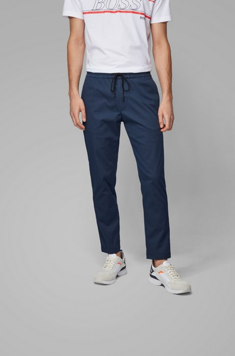 Tapered-fit trousers in lightweight poplin with drawstring waist, Dark Blue