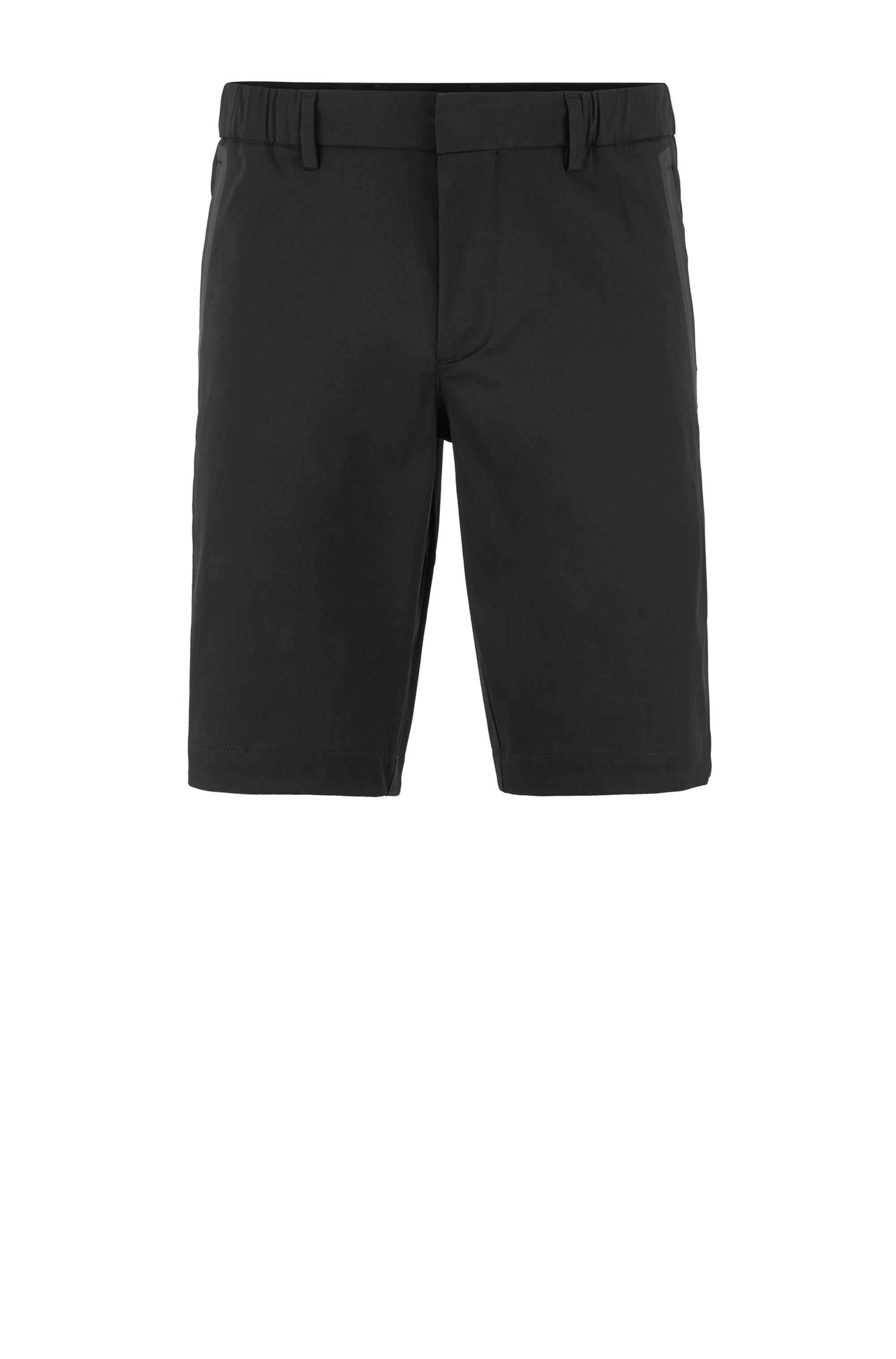 Shorts slim fit en mezcla de algodón elástico de tejido dobby, Negro