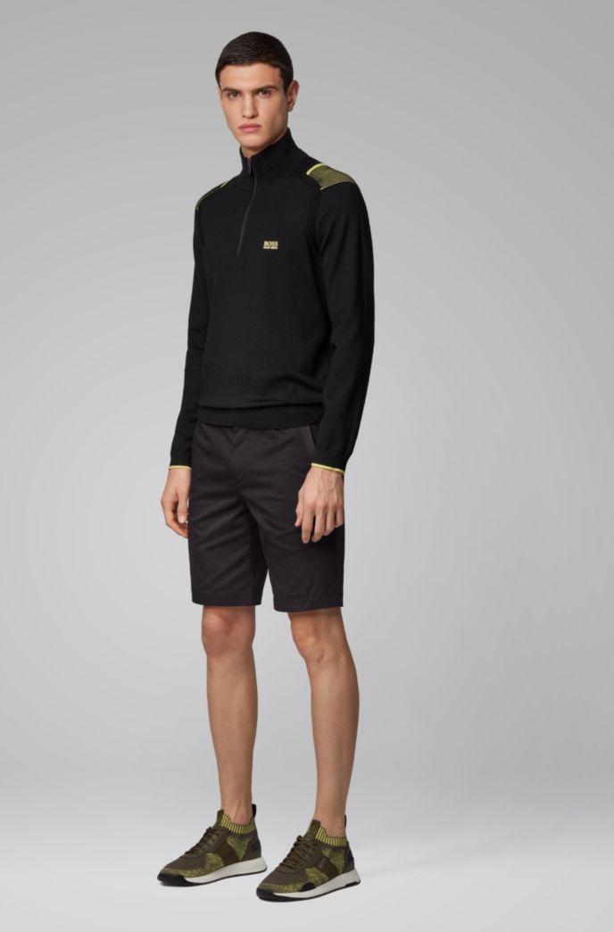 Slim-Fit Shorts aus strukturiertem, elastischem Baumwoll-Mix