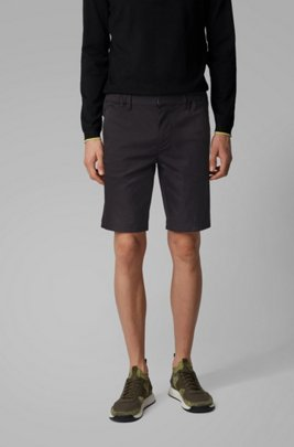 Short Slim Fit en coton stretch mélangé et façonné, Noir
