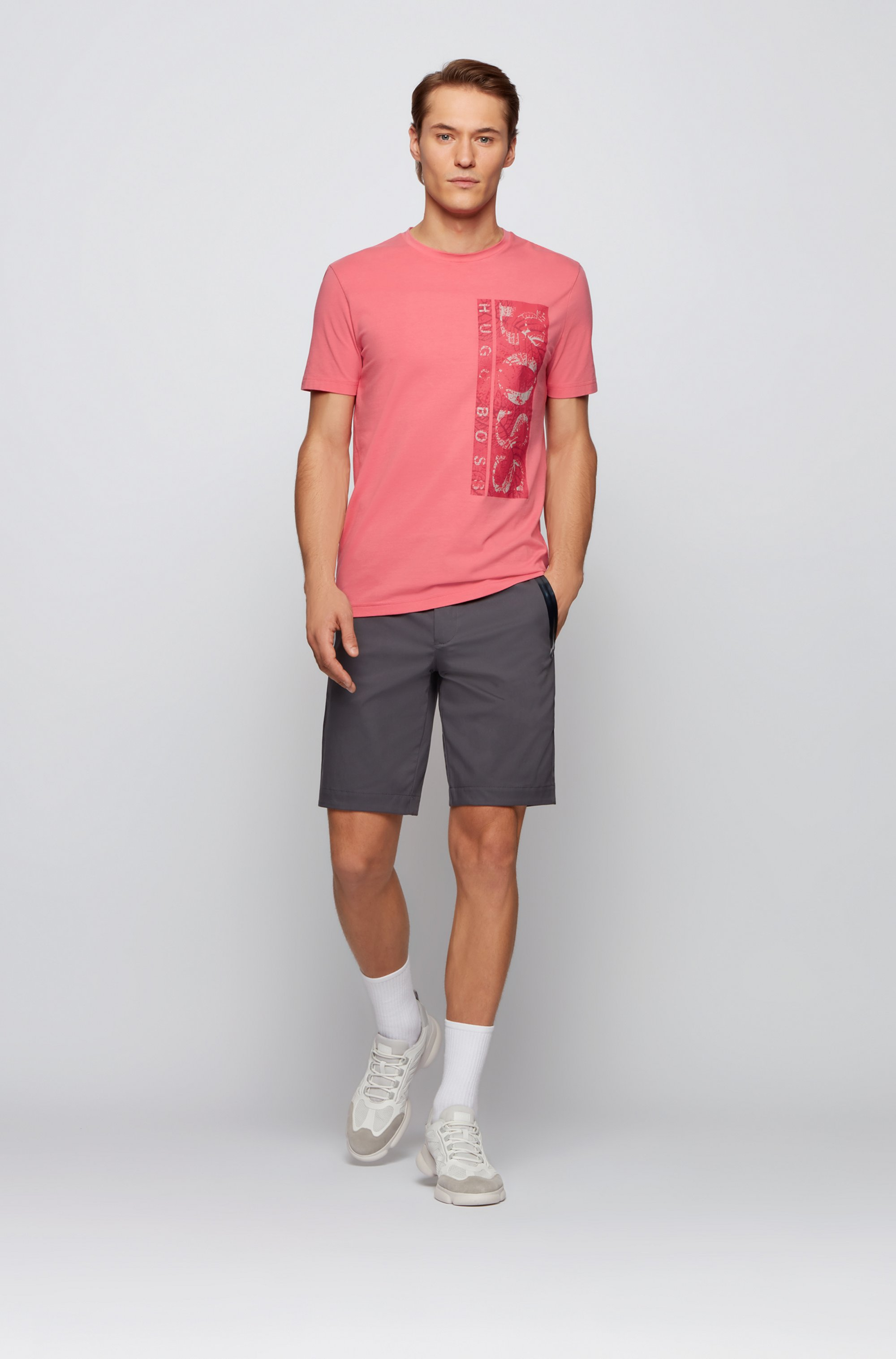 Slim-fit shorts in cotton-blend stretch dobby