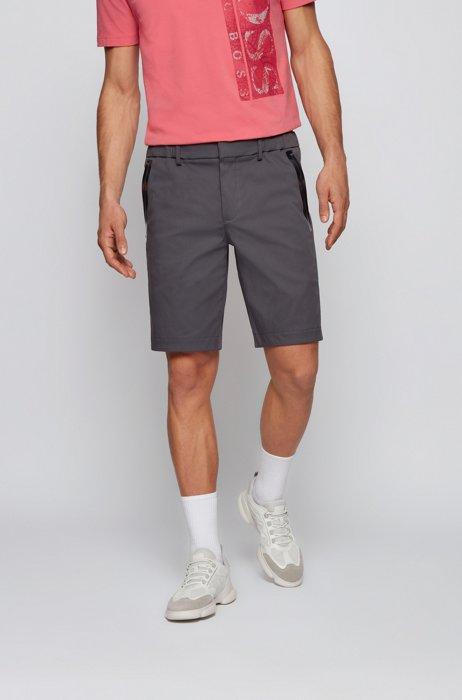 Slim-fit shorts in cotton-blend stretch dobby, Dark Grey