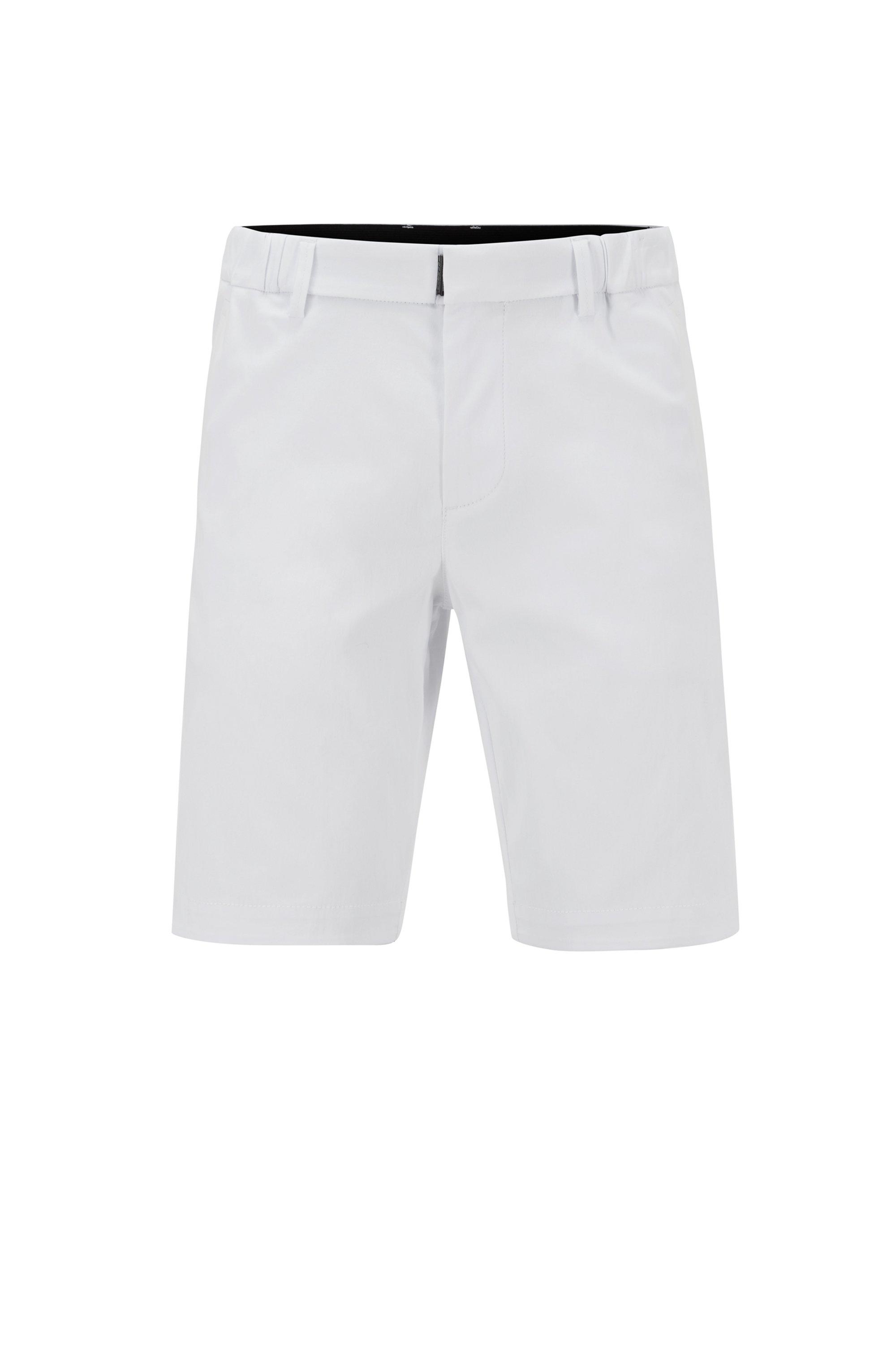 Short Slim Fit en coton stretch mélangé et façonné, Blanc