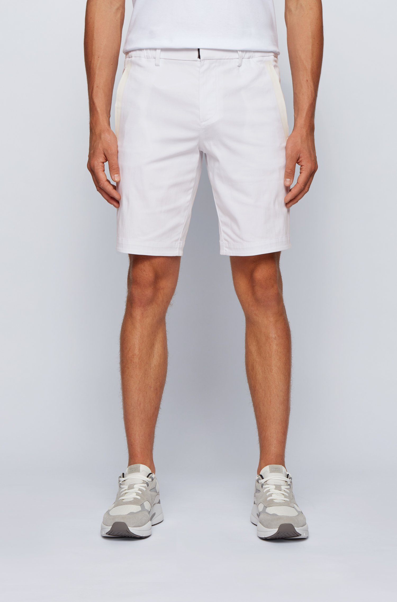 Slim-fit shorts in cotton-blend stretch dobby, White