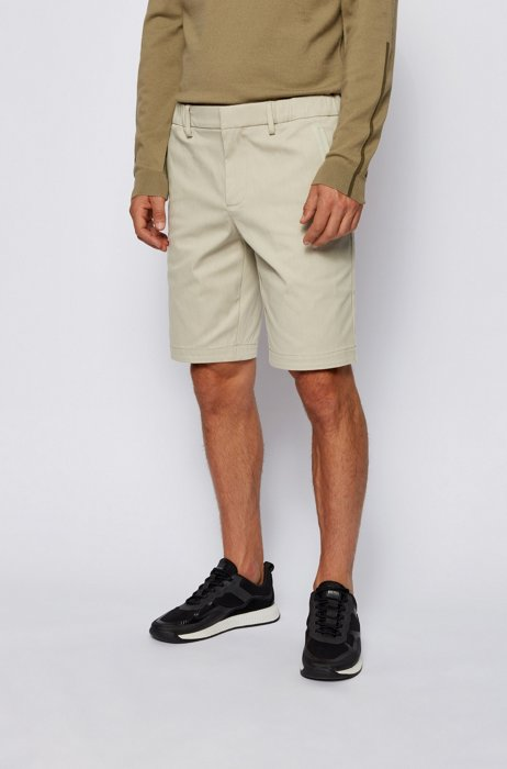 Slim-fit shorts in cotton-blend stretch dobby, Light Beige