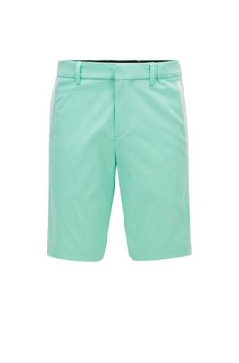 Slim-fit short van een katoenmix met stretch in dobbystructuur, Kalk