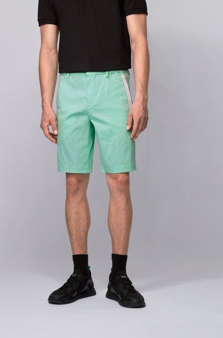 Slim-Fit Shorts aus strukturiertem, elastischem Baumwoll-Mix, Hellgrün