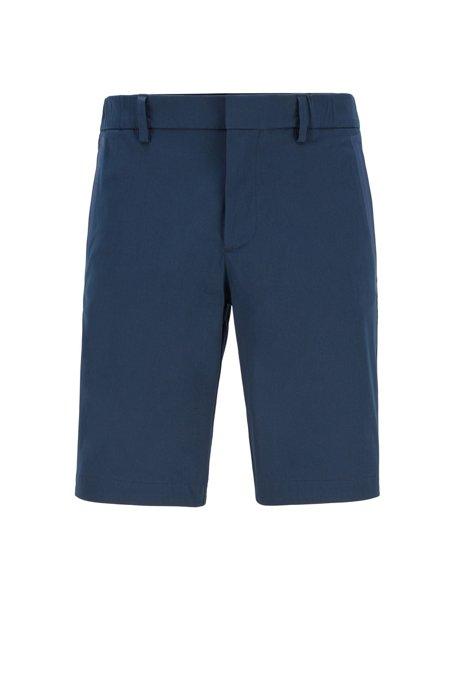 Slim-fit shorts in cotton-blend stretch dobby, Dark Blue