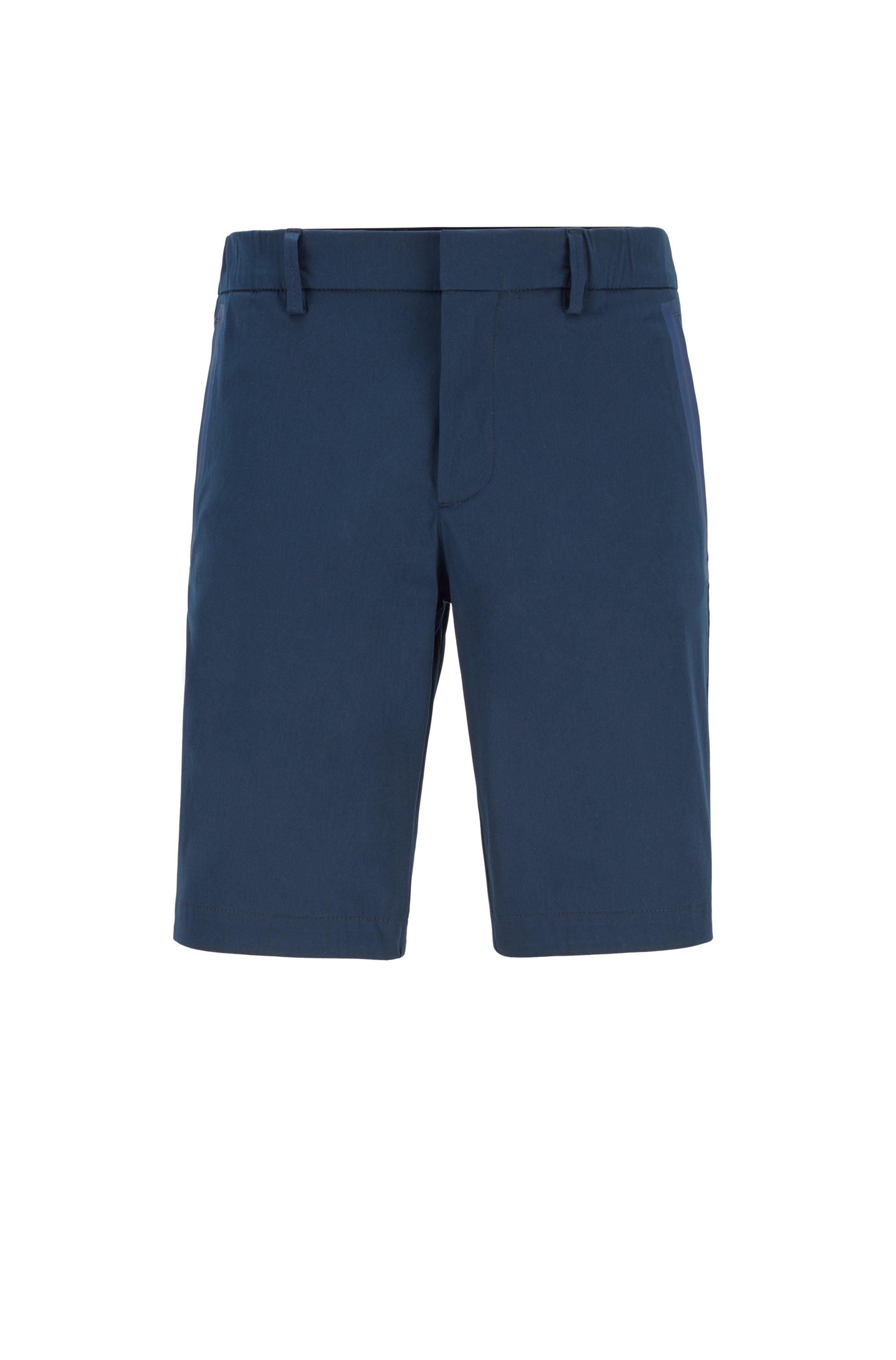 Slim-fit shorts in cotton-blend stretch dobby, Dark Blue