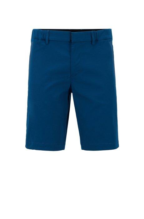 Slim-Fit Shorts aus strukturiertem, elastischem Baumwoll-Mix, Blau