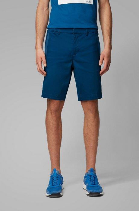 Bermuda slim fit in dobby di misto cotone elasticizzato, Blu
