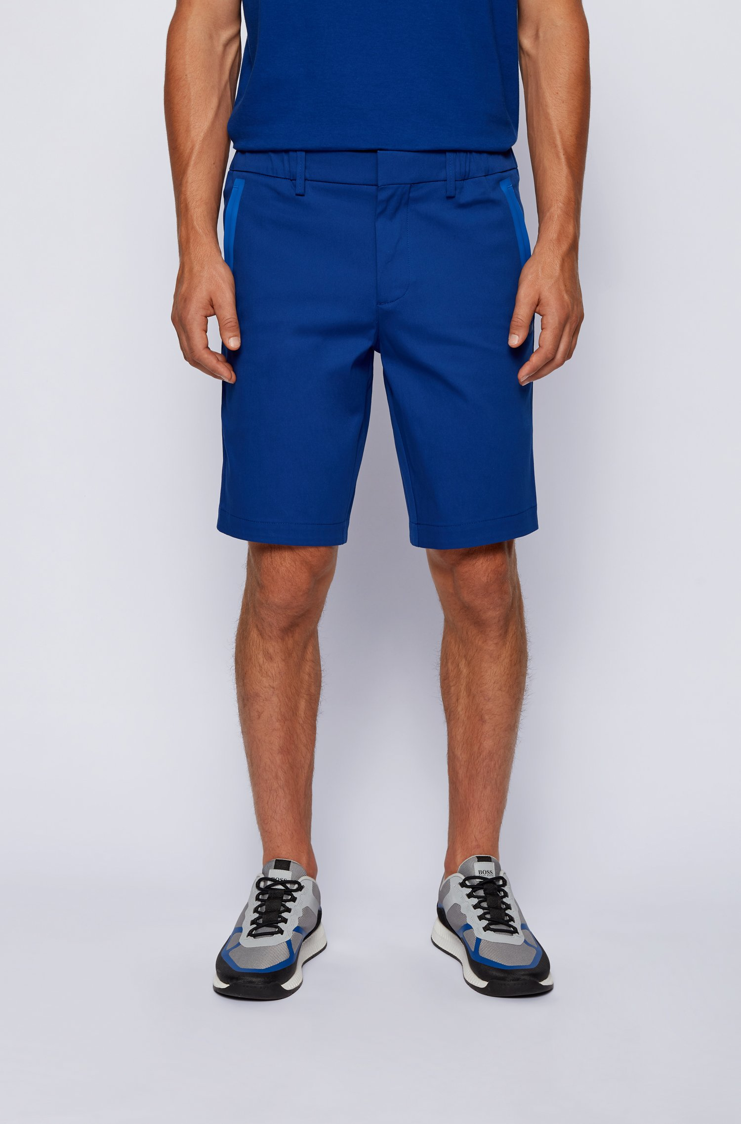 Slim-fit shorts in cotton-blend stretch dobby, Blue