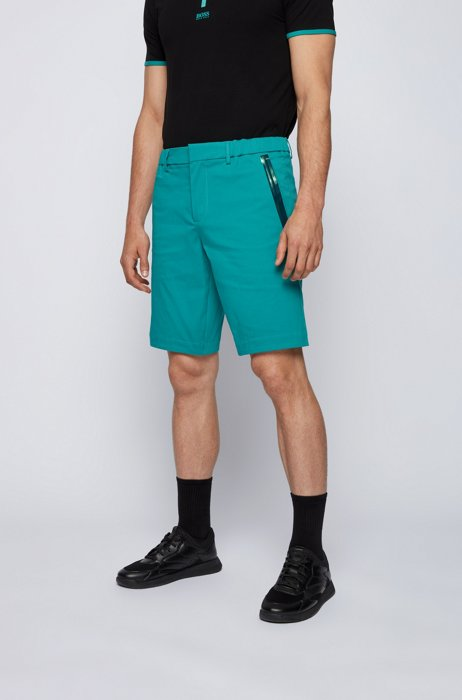Slim-fit shorts in cotton-blend stretch dobby, Turquoise