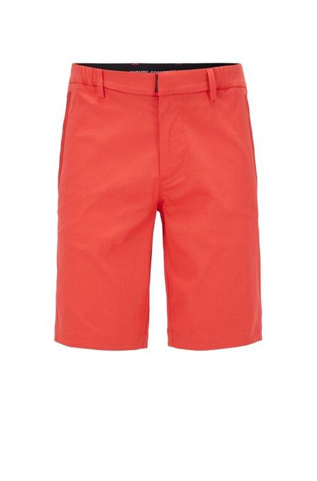 Slim-Fit Shorts aus strukturiertem, elastischem Baumwoll-Mix, Rot
