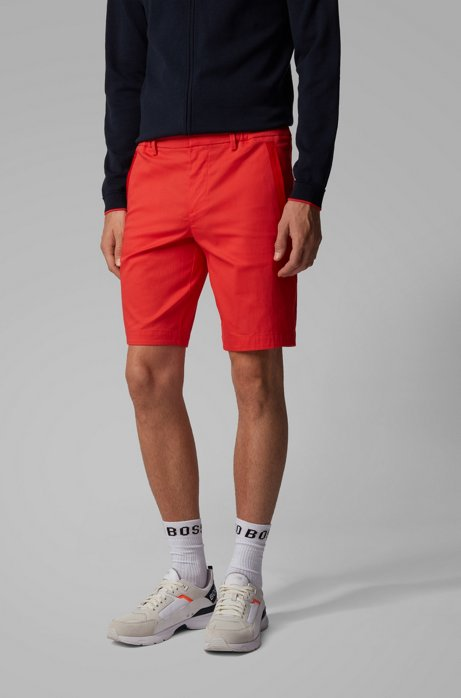 Slim-fit shorts in cotton-blend stretch dobby, Red