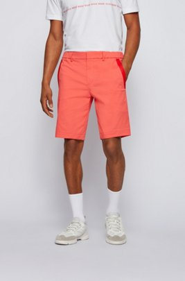 Slim-fit shorts in cotton-blend stretch dobby, Light Red