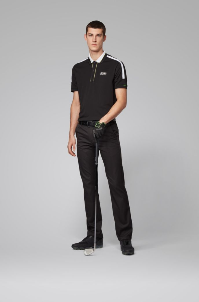 Stripe-detail polo shirt in recycled stretch fabric