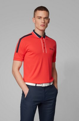 Stripe-detail polo shirt in recycled stretch fabric, Red