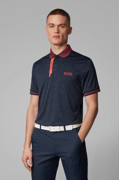 Slim-fit polo shirt with contrast detailing, Dark Blue