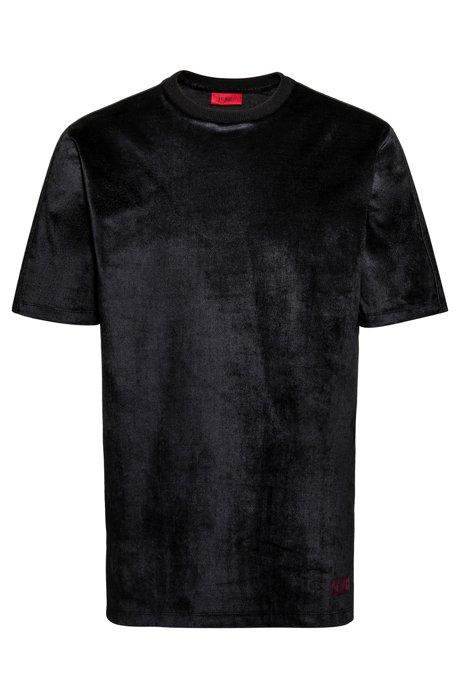 T-Shirt aus elastischem Baumwoll-Mix mit Samt-Finish, Schwarz