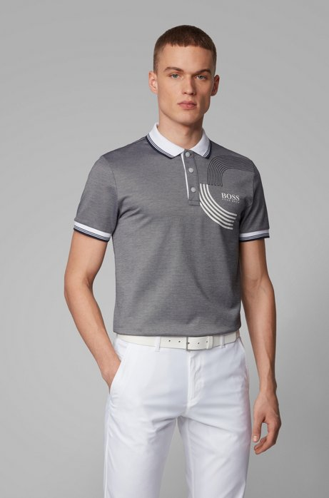 Slim-fit golf polo shirt in moisture-wicking fabric, Grey