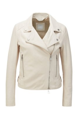 Nappa-leather biker jacket with oversized lapels, White
