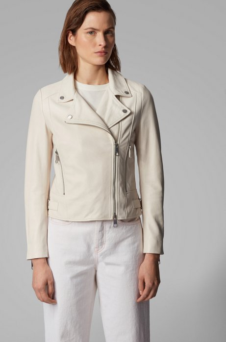 Nappa-leather biker jacket with oversized lapels, Natural