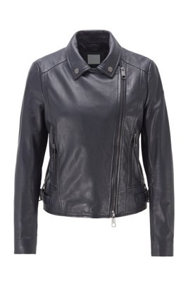 Nappa-leather biker jacket with oversized lapels, Dark Blue
