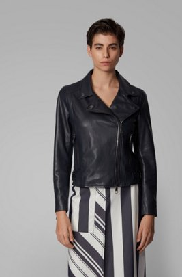 Nappa-leather biker jacket with oversized lapels, ダークブルー